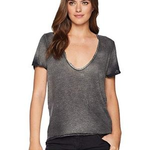 Free People Saturday Linen Lace Trim Tee